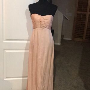 Amsale 100% silk strapless bridesmaid dress